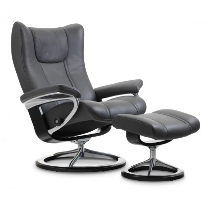 Stressless Wing Signature Recliner & Ottoman