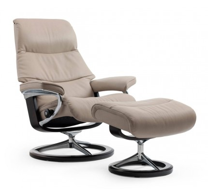 Stressless View Signature Recliner & Ottoman