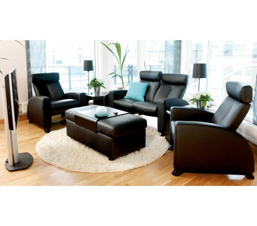 Leather Reclining Sectional With Adjustable Headrest